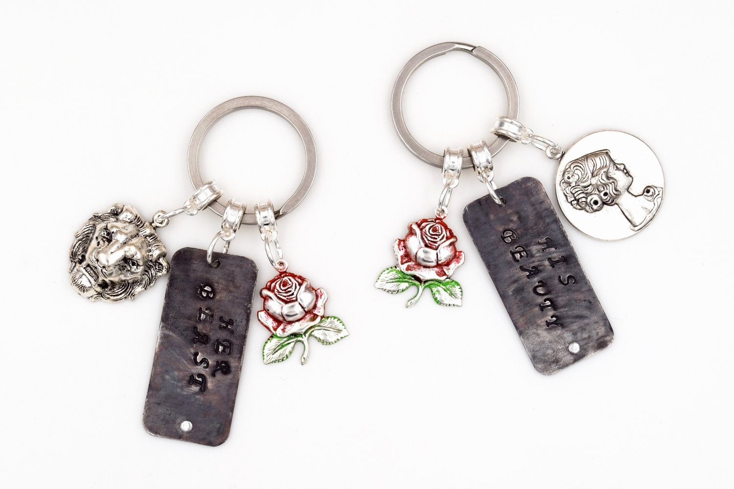 His Beauty Her Beast Beauty & the Beast Couples Keychains (Hand Stamped, Silver Plated, Fairy Tale Keychain) fripparie