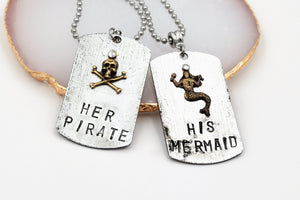 His Mermaid Her Pirate Couples Necklaces (Stainless Steel Ball Chain, Lobster Claw Clasp) fripparie