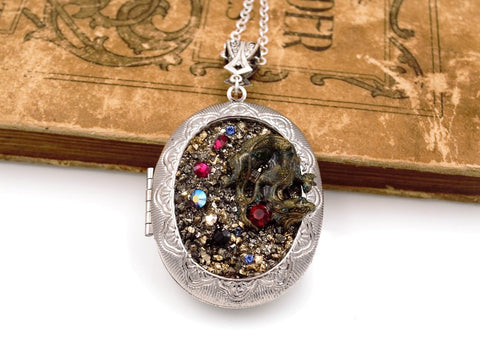 Hoard of the Dragon Necklace Locket with Swarovski® Elements Rhinestones Fantasy Jewelry fripparie