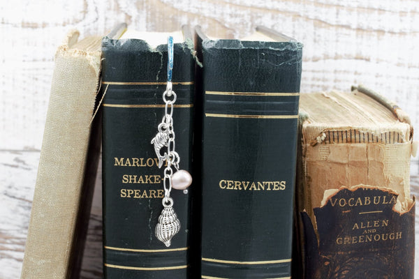 Little Mermaid Bookmark with Cultured Baroque Pearl and Fish and Seashell Charms (Fairy Tale Bookmark) fripparie