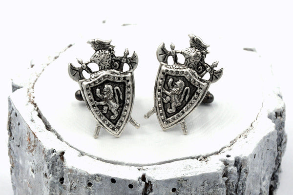 Medieval Knight Shield Cufflinks with Rampant Lion Coat of Arms (Antique Brass or Silver Plated, Men's Accessory) fripparie