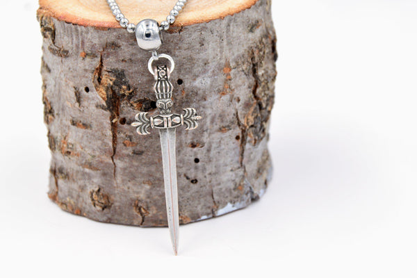 Medieval Sword Necklace (Silver Plated Brass with Stainless Steel Ball Chain, Men's) fripparie