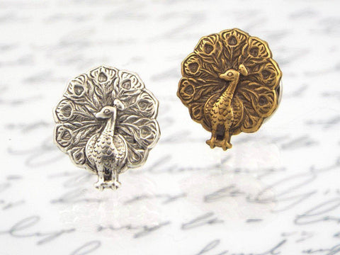 Peacock Tie Tack (Antiqued Brass or Silver Plated, Men's Accessory) fripparie