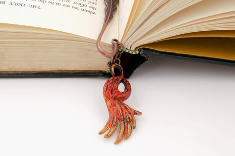 Phoenix Feather Metal Charm Bookmark fripparie