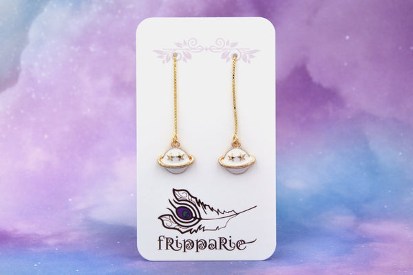 Planet Saturn Long Threader Earrings (Gold Plated with Gold Vermeil Ear Threads) fripparie