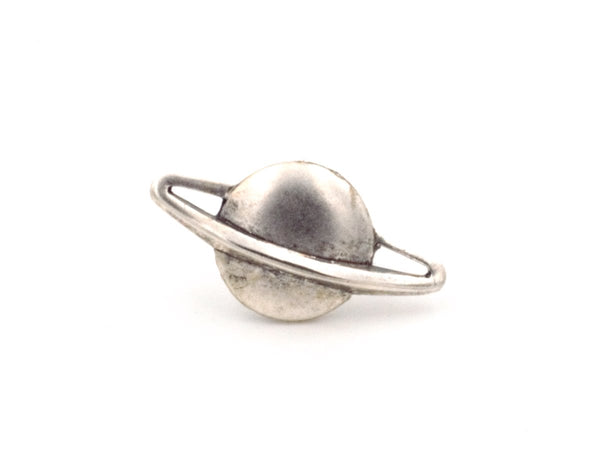 Planet Saturn Tie Tack Lapel Pin (Silver Plated or Antiqued Brass, Celestial Jewelry) fripparie