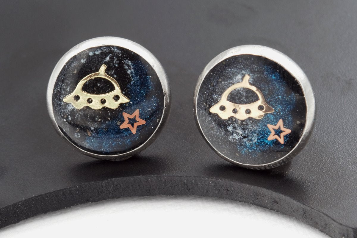 Sci-Fi Galaxy Space Earrings (Rocket, Saturn, UFO, Stainless Steel Posts, 1 Pair, Celestial Jewelry) fripparie