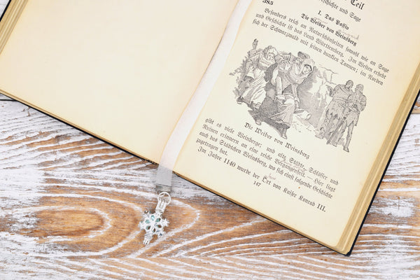 Snow Queen Princess Fairy Tale Glitter Ribbon Bookmark with Snowflake Pearl Cage Locket and Bee Charm fripparie
