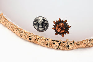 Sun and Moon Mismatched Earrings (Silver and Copper Mixed Metals, Sterling Silver Posts, Celestial Jewelry) fripparie