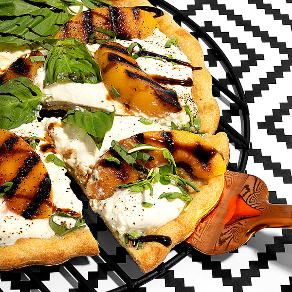 Grilled Peach, Burrata & Balsamic Pizza