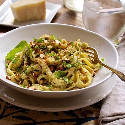 Fettuccini with Zucchini & Mint Pesto