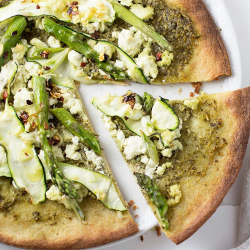 Artichoke Pistachio Pesto Pizza with Artichokes and Zucchini