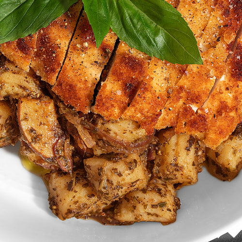 Garlic Basil Gnocchi with Mushrooms and Gluten-Free Breaded Chicken (Paleo)