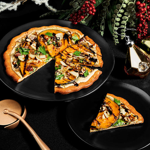 DAIRY-FREE KABOCHA SQUASH, APPLE, CARAMELIZED SHALLOT AND HAZELNUT PIZZA