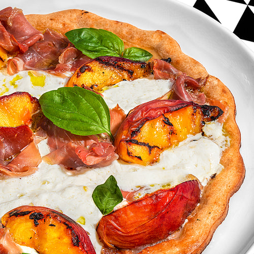 Peach and Burrata Grilled Pizza