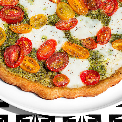 Pesto Mozzarella Tomato Pizza
