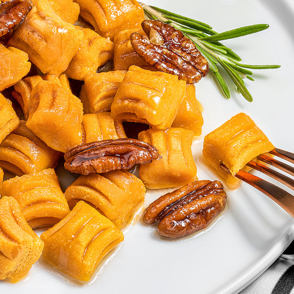 Sweet Potato Gnocchi with Maple, Bourbon, and Rosemary Glazed Pecans (Plant Paradox friendly)