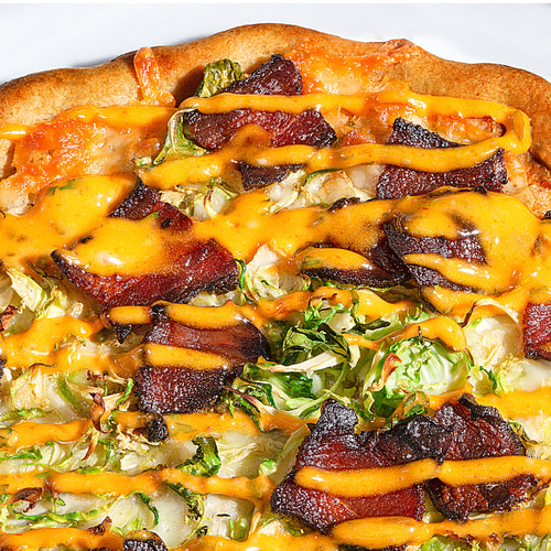 Cheesy Bacon and Brussels Pizza