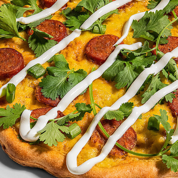 Chorizo and Cilantro Pizza with Sweet Corn Puree