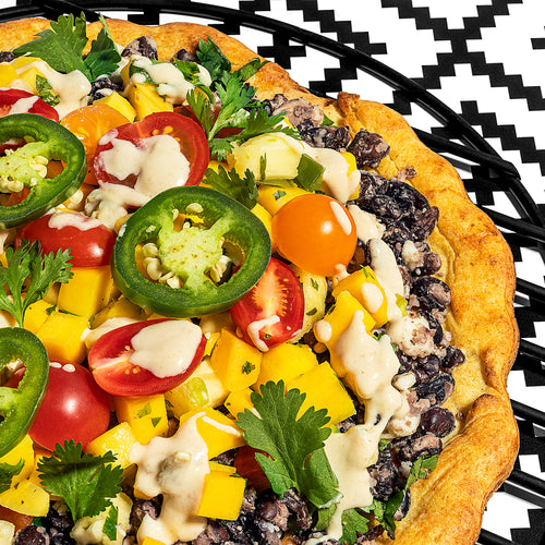 Crispy Black Bean Pizza with Fresh Mango Salsa & Cashew Queso (Dairy Free)