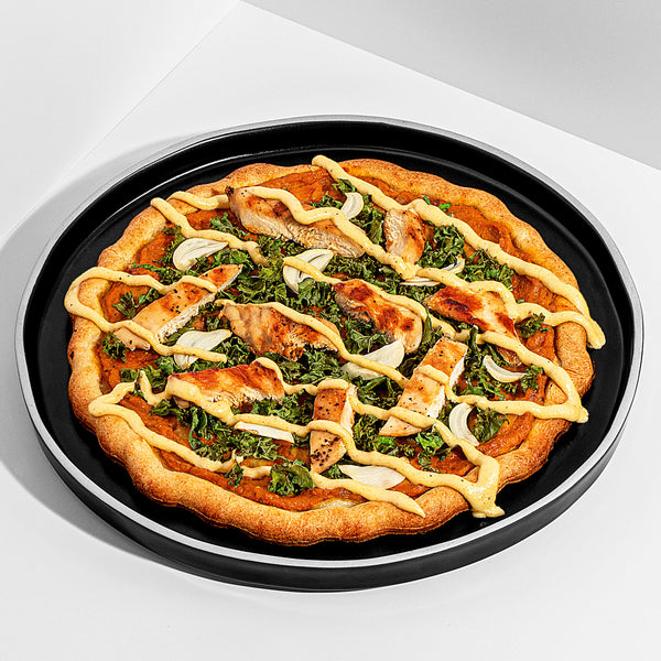 Paleo & Dairy Free Pumpkin Sauce Pizza with Grilled Chicken and Kale