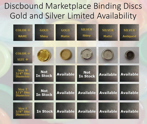 Binding Discs GOLD & SILVER - LIMITED OFFER