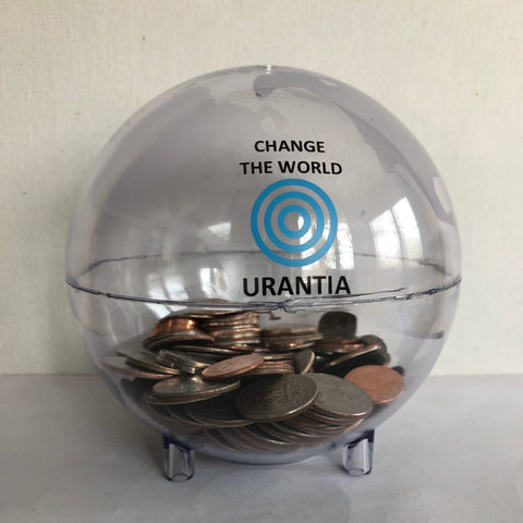 "Coin Bank - ""Change The World"" Urantia Logo"