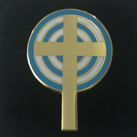 "Lapel Pin – ""Unity Cross"" Gold-Tone Cloisonne"