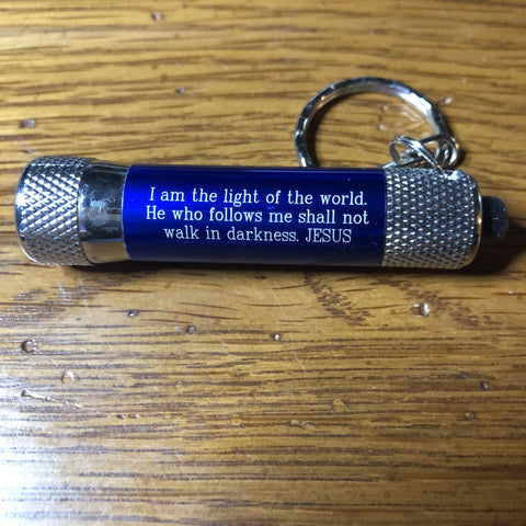 "Keychain Flashlight - ""I Am The Light Of The World"" Quote"