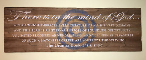 "Art – Antique Wood with ""Urantia"" Quotes"
