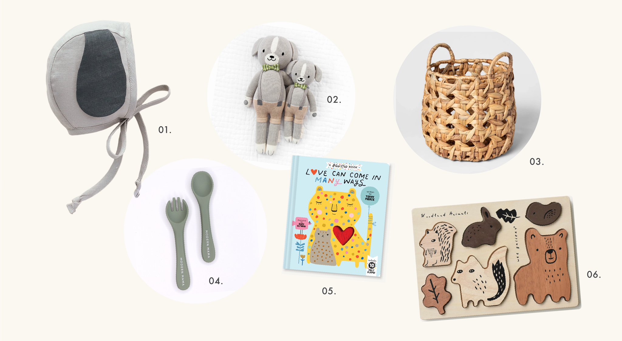 01. Briar Petite Puppy bonnet, 02. Cuddle + Kind Noah the Dog, 03. Target Open Weave Basket, 04. Modern Mama Utensil set, 05. Love Can Come in Many Ways book, 06. Wee Gallery Wooden Tray Puzzle
