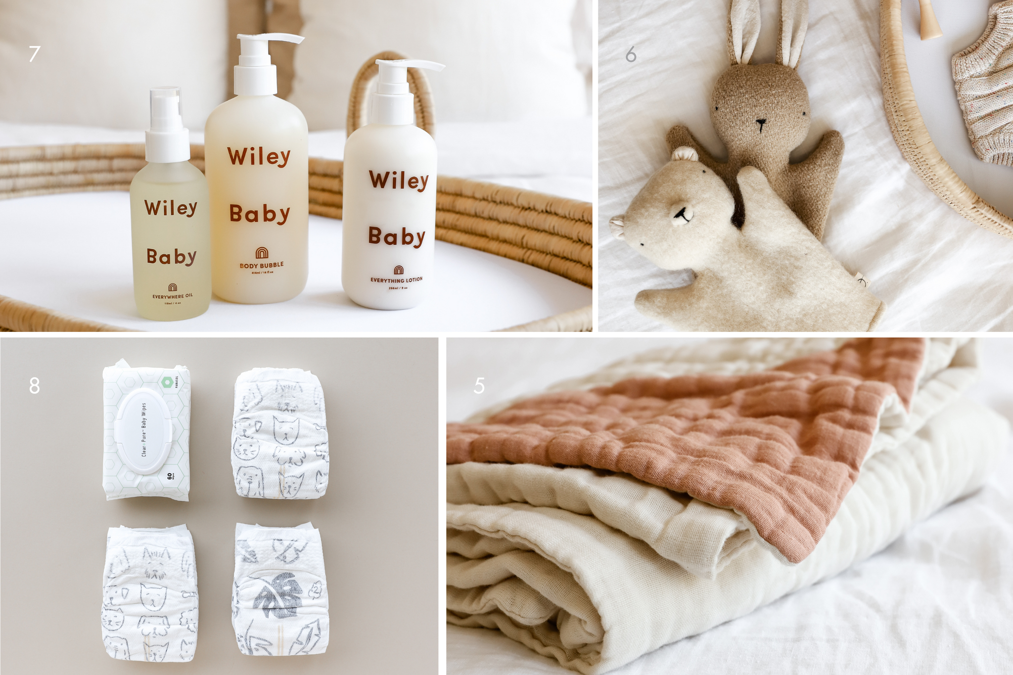 Four images, clockwise from top left: three bottles of Wiley Body Bubble, Wiley lotion, and Wiley body oil; two handmade puppets, a bear and a bunny, from Oustitine; a thick organic blanket from Willaby, folded; three diapers and a pack of wipes from Parasol Co.