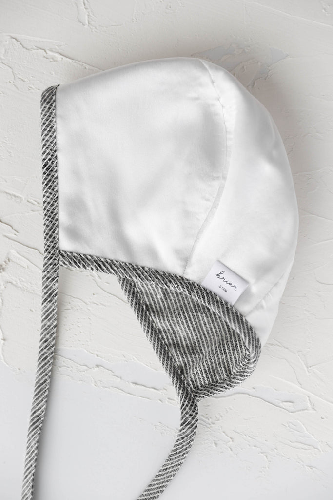 Brimmed Clay Stripe Linen Bonnet Silk-Lined
