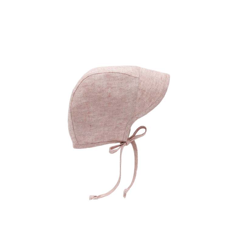 Brimmed Blush Linen Bonnet Silk-Lined