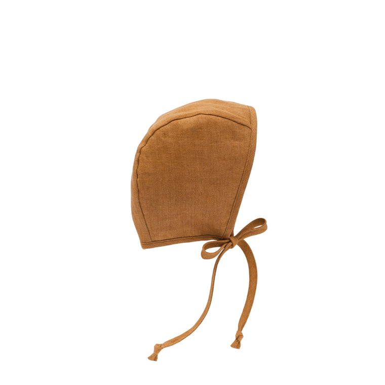 Rust Linen Bonnet Silk-Lined