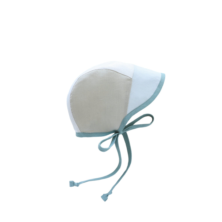 Brimmed Ocean Breeze Linen Bonnet Silk-Lined
