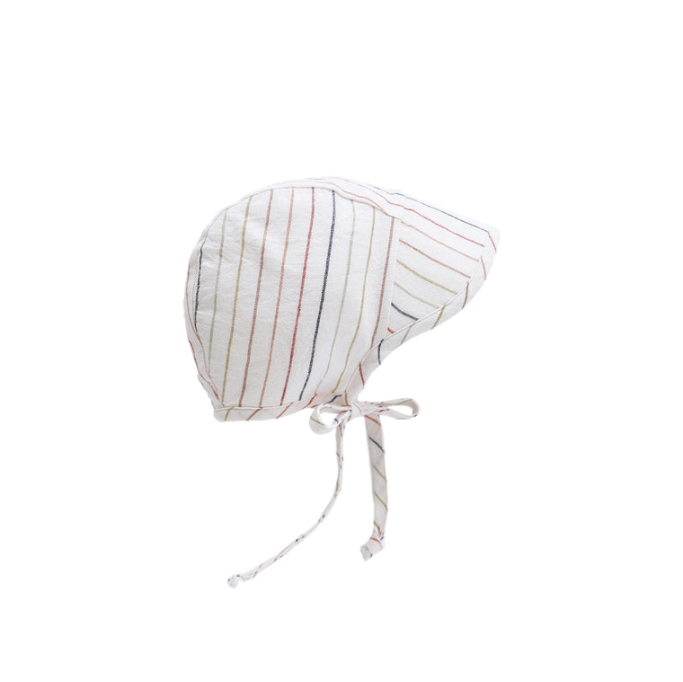 Brimmed Sunset Stripe Linen Bonnet Silk-Lined