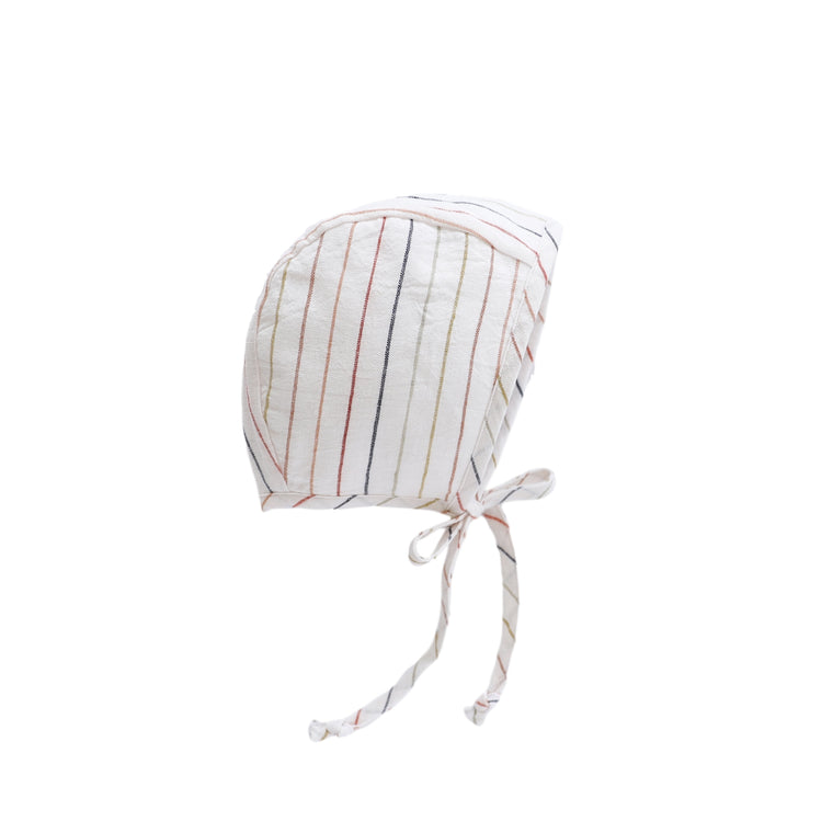 Sunset Stripe Linen Bonnet Silk-Lined