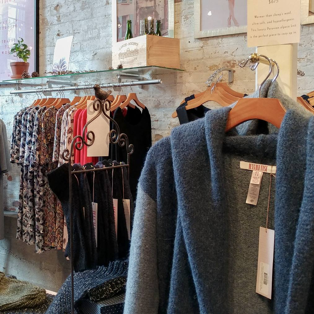 Sweaters, dresses and womenswear. Jessica Rose, Fashion Designer, Located in the Distillery District, Toronto, Canada.