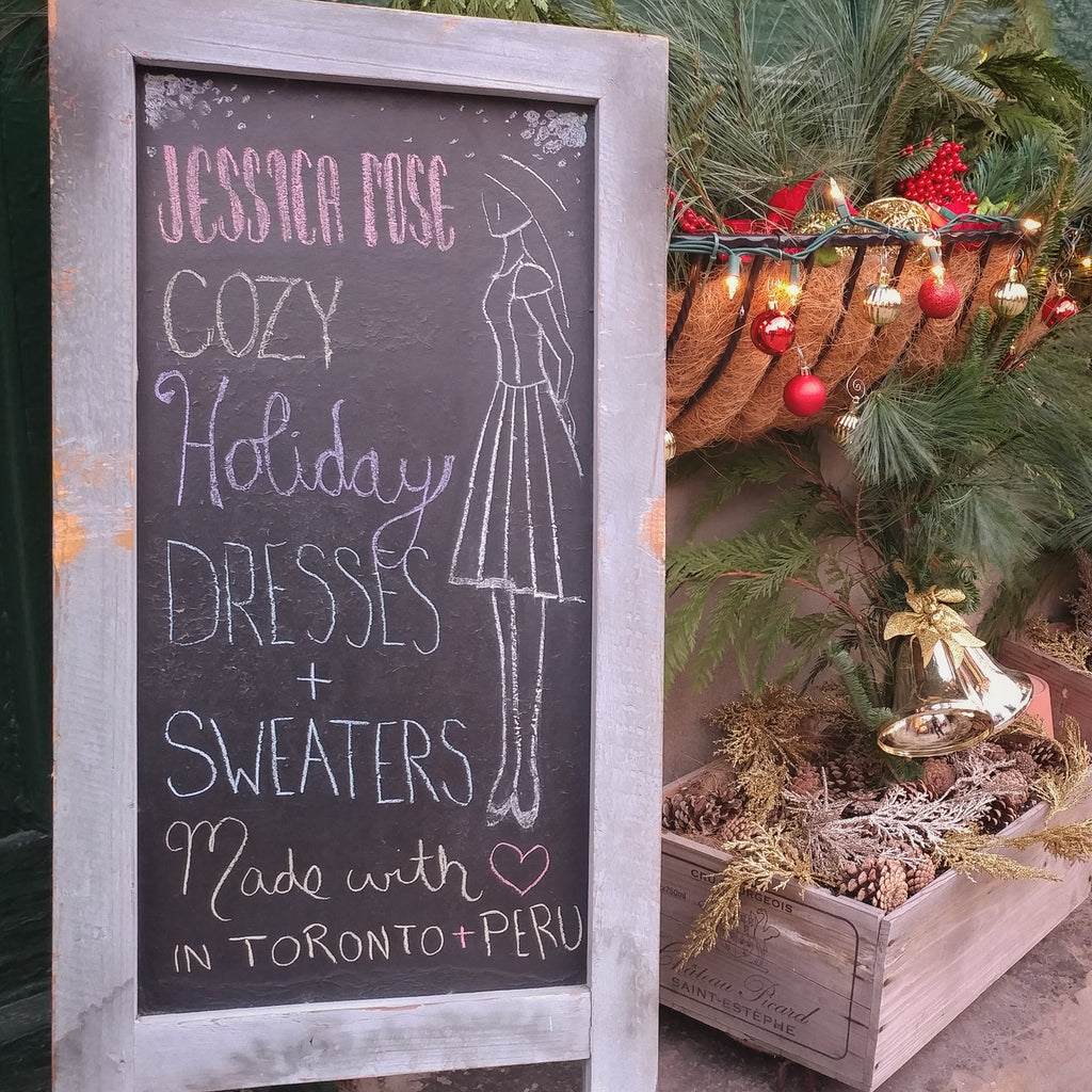Cozy holiday dresses and sweaters. Made in Canada and Peru by Jessica Rose. Distillery District, Toronto.