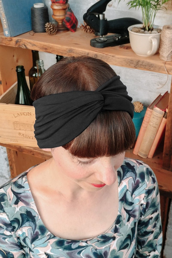 Black turban headband for women -  hair hairband