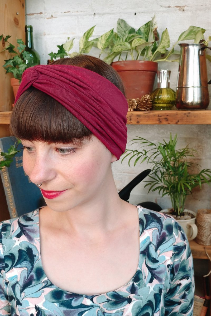 Burgundy turban headband for women -  hair hairband