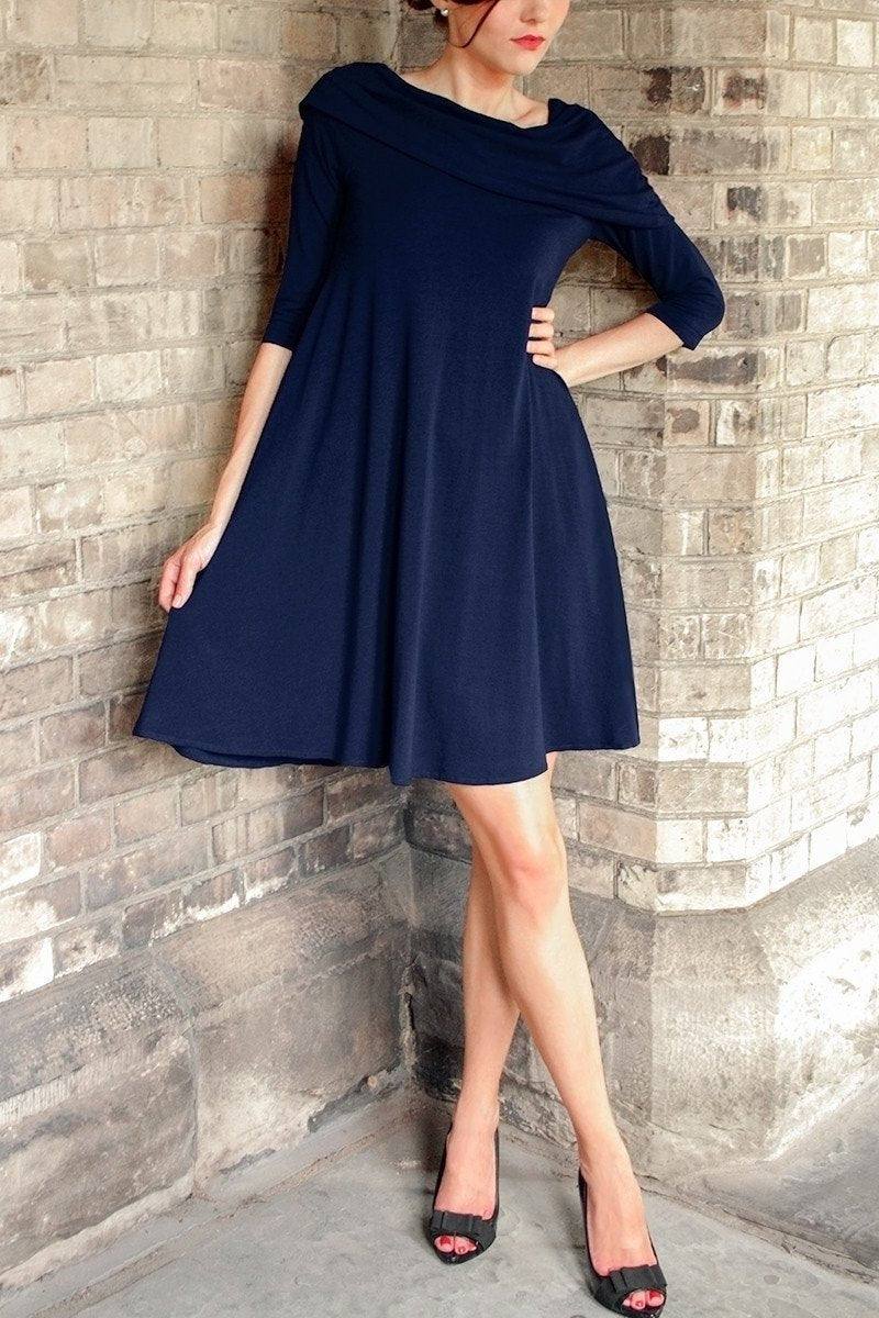 Navy blue short cape dress. Flowy asymmetrical dress with 3/4 sleeves. French style dresses