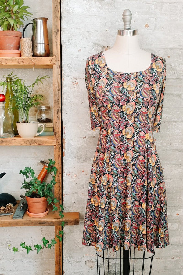 Citrus paisley Liberty print dress in jersey for women. Knee length with scoop neck, short sleeves