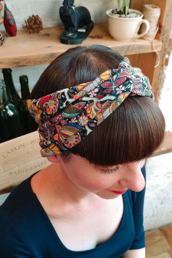 Turban Headband - citrus paisley liberty print-Women's Turban Headbands-Jessica Rose-Toronto Canada