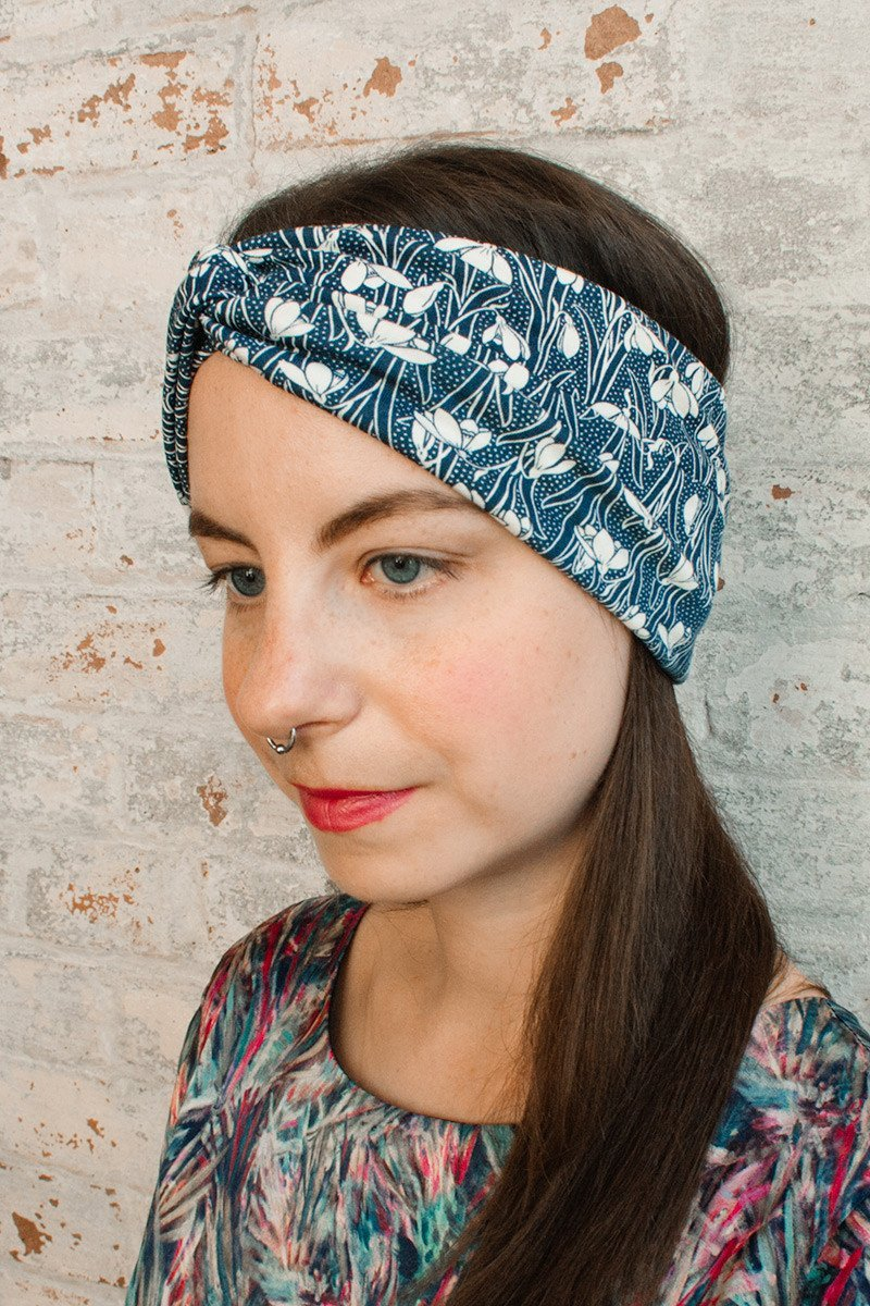 Turban Headband - navy blue liberty of london print-headband-Jessica Rose-Toronto Canada
