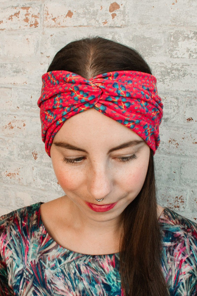 Turban Headband - red floral liberty print