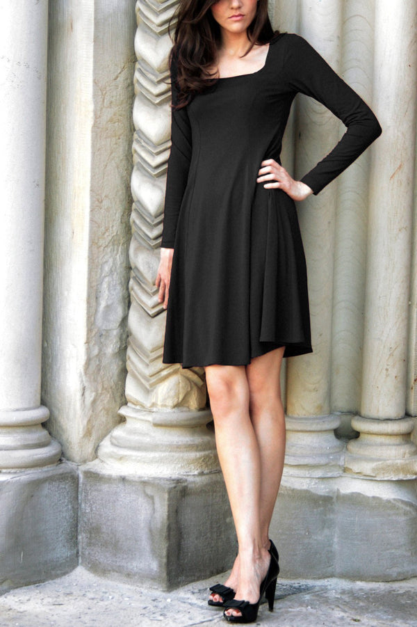 Marion black long sleeve babydoll dress for adult women with square neck and simple flowy shape.