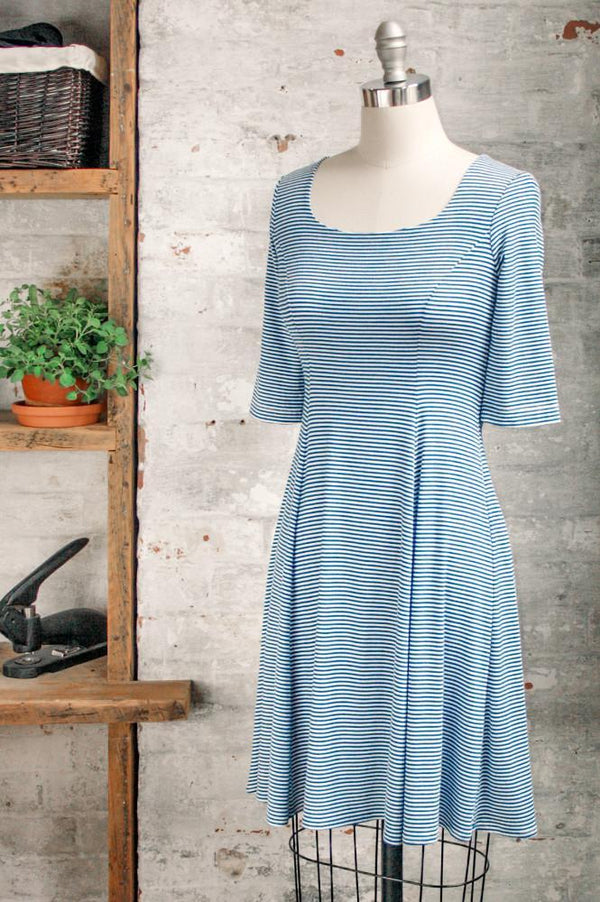 Women's knee length flared Marion - marinière striped flared dress with a scoop neckline and 3/4 length sleeves in a jersey knit. Made in Canada clothing by Jessica Rose.