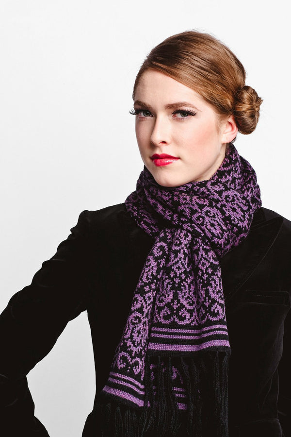 Merino Wool Scarf - baroque patterned knit-Scarves-Jessica Rose-Toronto Canada